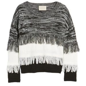 Frayed Mixed Knit Sweater